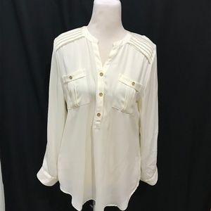 Chicos Size 1 Ivory Blouse Tunic Solid Sz S M